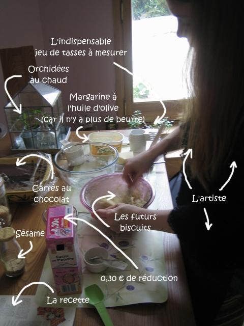 La préparation des biscuits au sésame